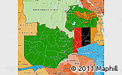Flag Map of Zambia, political shades outside