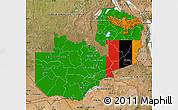 Flag Map of Zambia, satellite outside