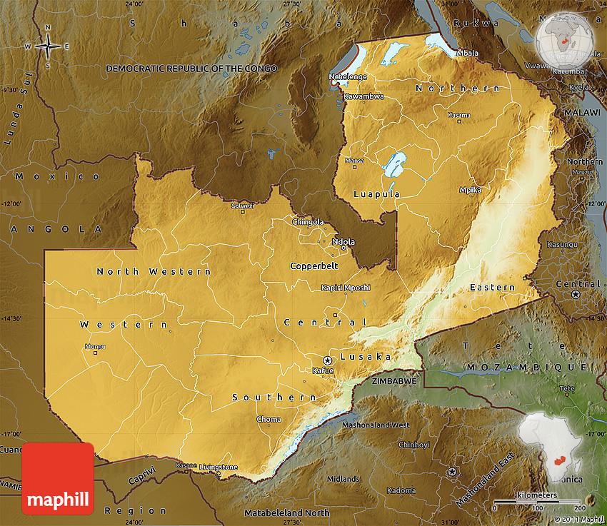 Physical Map of Zambia darken Zambia physical