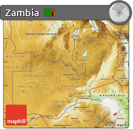 Free Physical Map of Zambia