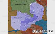 Political Shades Map of Zambia, darken