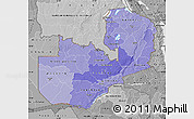 Political Shades Map of Zambia, desaturated