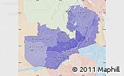 Political Shades Map of Zambia, lighten