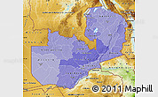 Political Shades Map of Zambia, physical outside