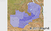 Political Shades Map of Zambia, satellite outside