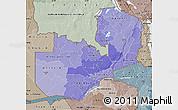 Political Shades Map of Zambia, semi-desaturated
