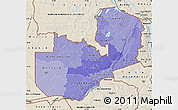 Political Shades Map of Zambia, shaded relief outside