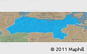 Political Panoramic Map of Solwezi, semi-desaturated