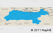 Political Panoramic Map of Solwezi, shaded relief outside