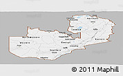 Gray Panoramic Map of Zambia, single color outside