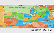Political Panoramic Map of Zambia, political shades outside