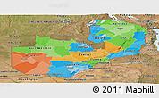 Political Panoramic Map of Zambia, satellite outside