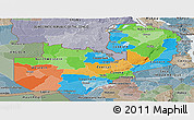 Political Panoramic Map of Zambia, semi-desaturated