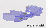 Political Shades Panoramic Map of Zambia, cropped outside