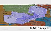 Political Shades Panoramic Map of Zambia, darken