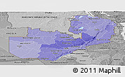 Political Shades Panoramic Map of Zambia, desaturated