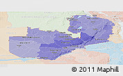 Political Shades Panoramic Map of Zambia, lighten