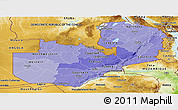 Political Shades Panoramic Map of Zambia, physical outside