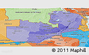 Political Shades Panoramic Map of Zambia
