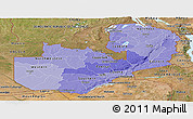 Political Shades Panoramic Map of Zambia, satellite outside