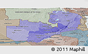 Political Shades Panoramic Map of Zambia, semi-desaturated