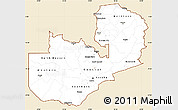 Classic Style Simple Map of Zambia, single color outside