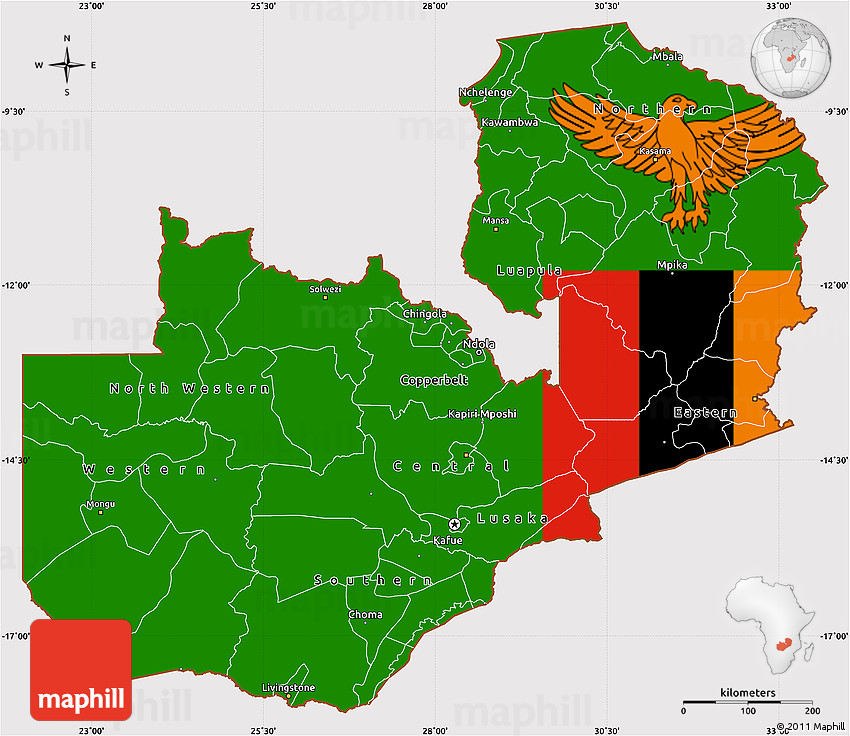 Flag Simple Map of Zambia