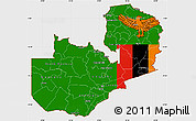 Flag Simple Map of Zambia, single color outside