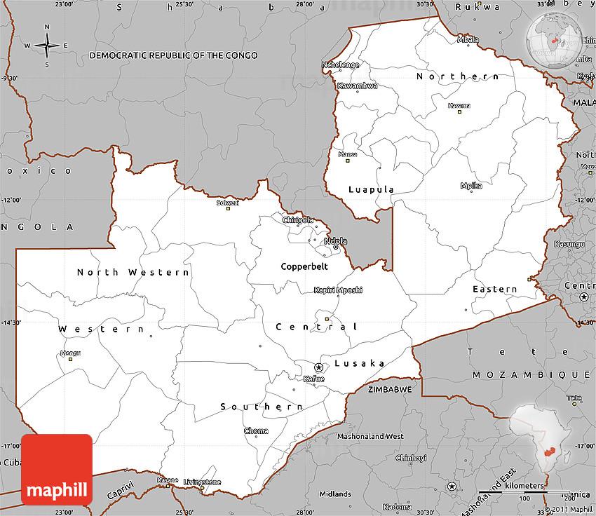 Map Zambia.Gray Simple Map Of Zambia