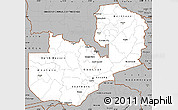 Gray Simple Map of Zambia