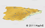 Physical Panoramic Map of Southern, cropped outside