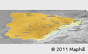 Physical Panoramic Map of Southern, desaturated