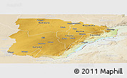 Physical Panoramic Map of Southern, lighten