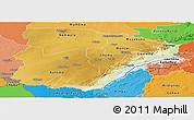 Physical Panoramic Map of Southern, political shades outside