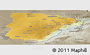 Physical Panoramic Map of Southern, semi-desaturated