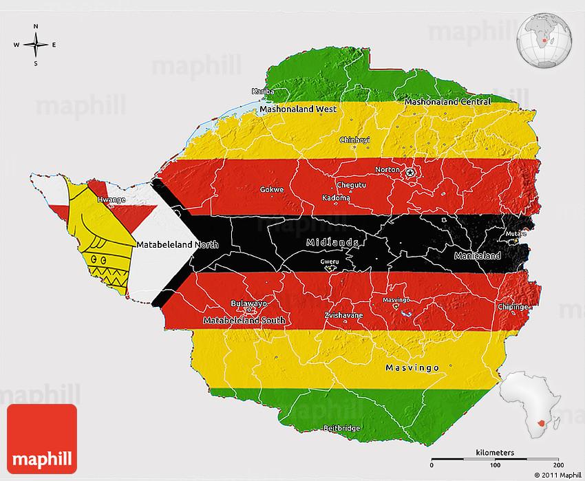 Flag 3D Map of Zimbabwe