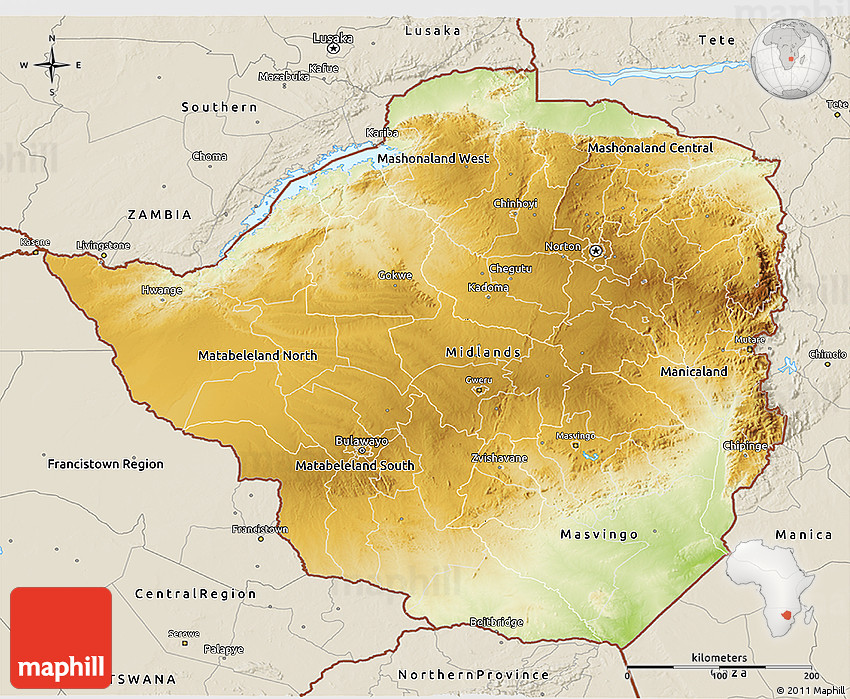 Topographic Map Zimbabwe.Physical 3d Map Of Zimbabwe Shaded Relief Outside