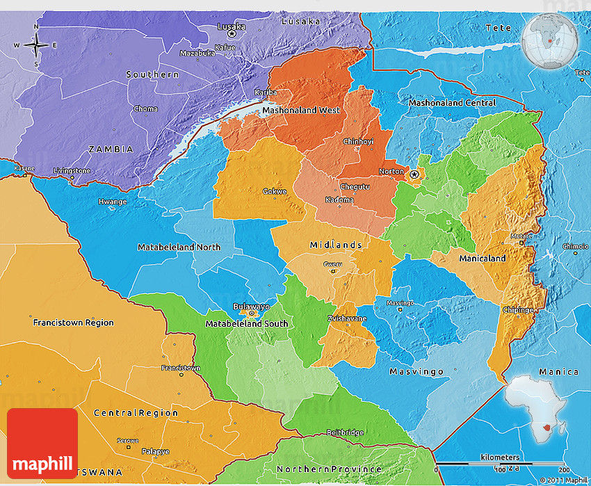 Political 3d map of zimbabwe political shades outside 2d gumiabroncs Image collections