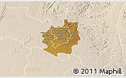 Physical 3D Map of Harare rural, lighten