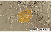 Physical 3D Map of Harare rural, semi-desaturated