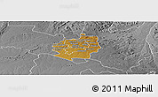 Physical Panoramic Map of Harare rural, desaturated