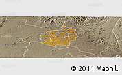 Physical Panoramic Map of Harare rural, semi-desaturated