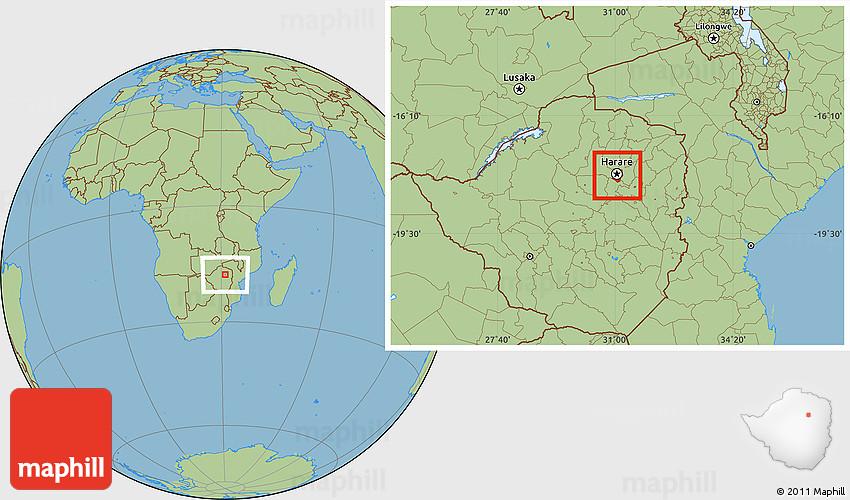 Savanna Style Location Map of Harare