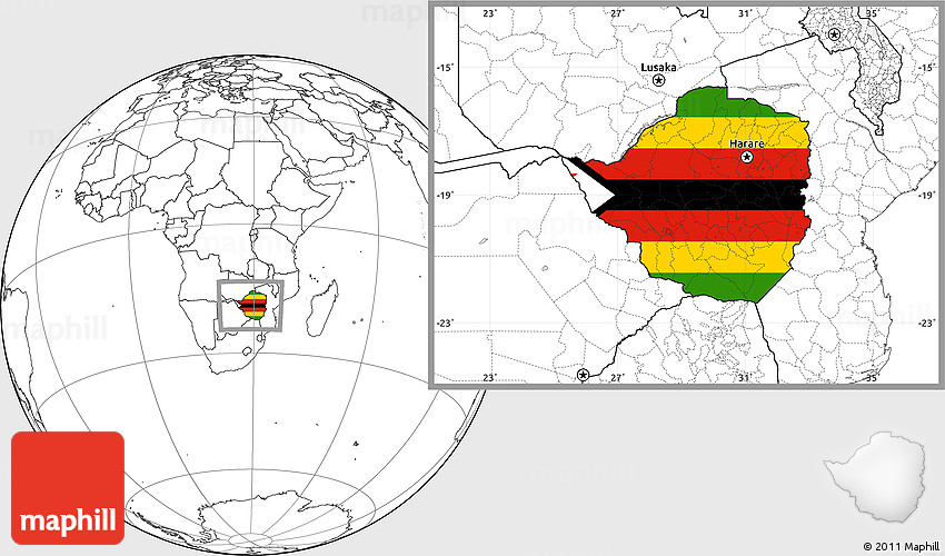 Flag Location Map of Zimbabwe blank outside
