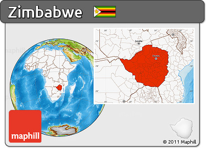 Physical Location Map of Zimbabwe, highlighted continent