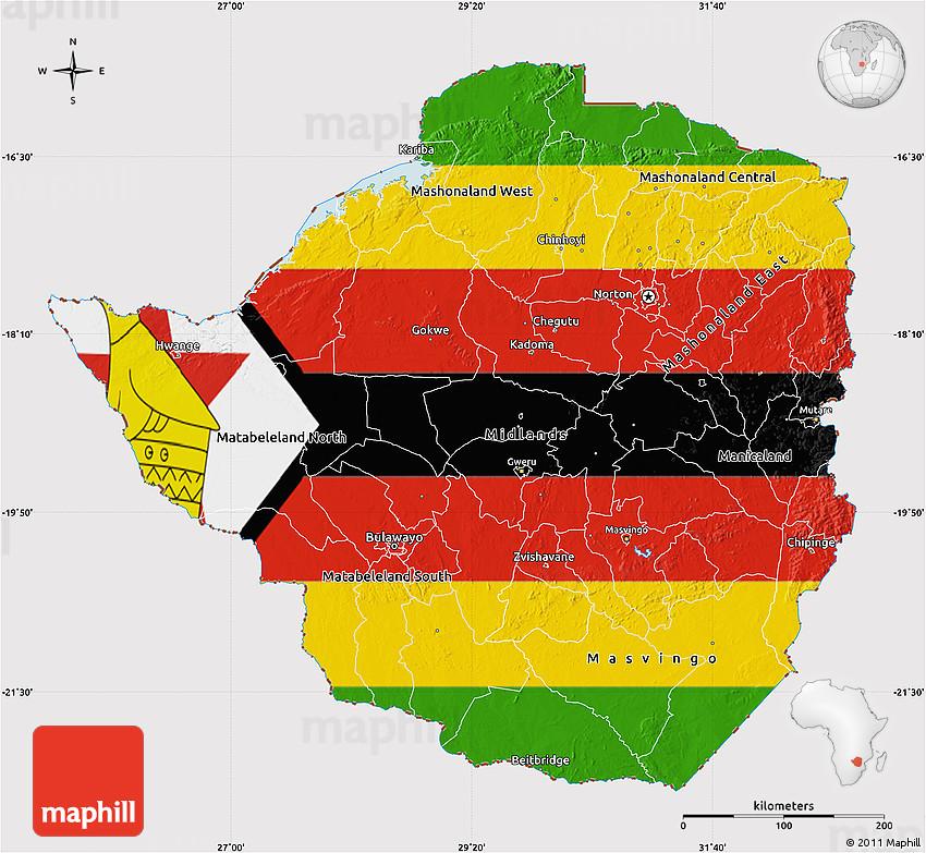 Flag Map of Zimbabwe