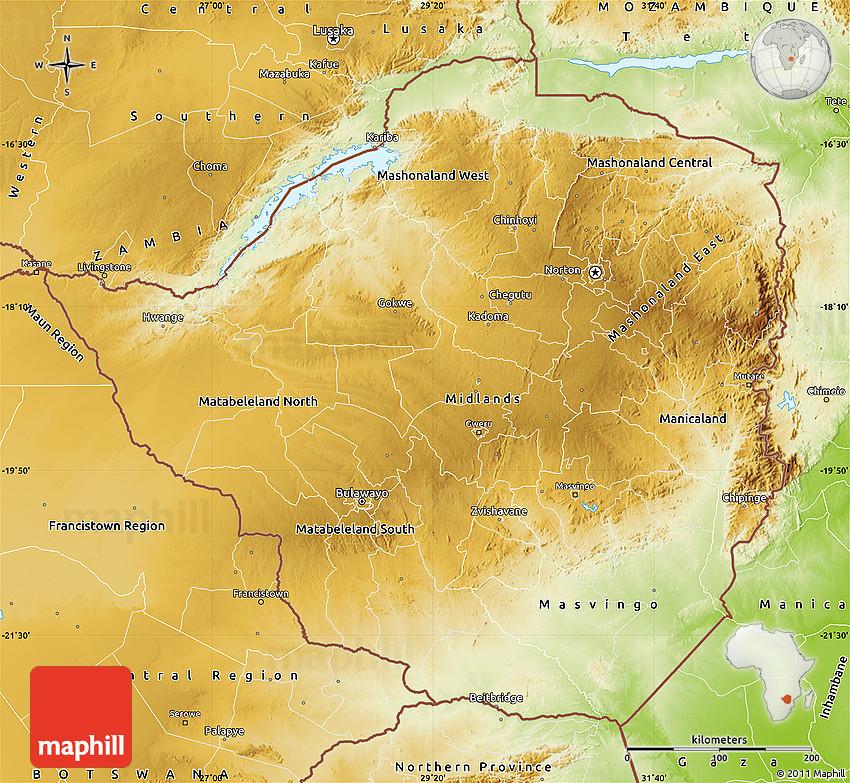 Physical Map Of Zimbabwe - Zimbabwe map