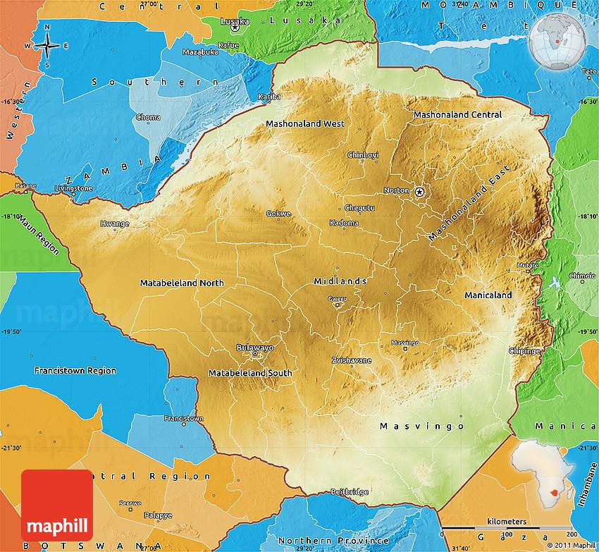 Physical Map of Zimbabwe political outside