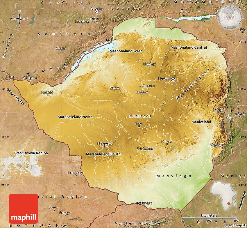 Physical Map of Zimbabwe, satellite outside