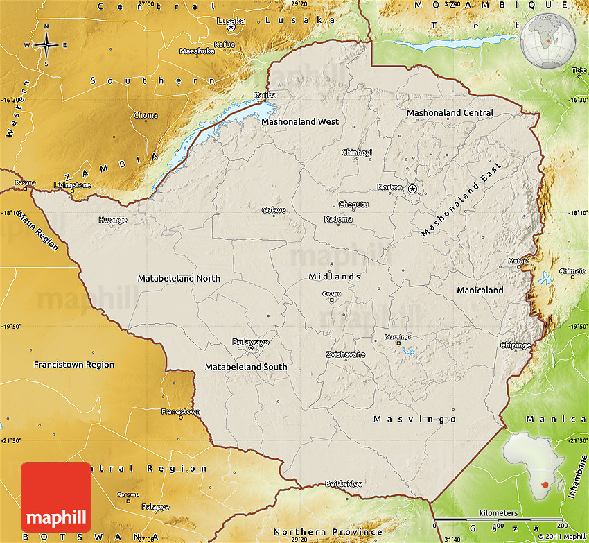 Shaded relief map of zimbabwe physical outside gumiabroncs Images